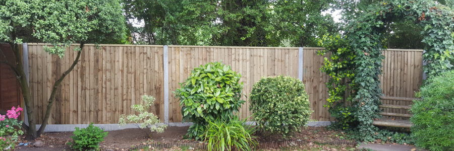 Closeboard fencing with concrete posts